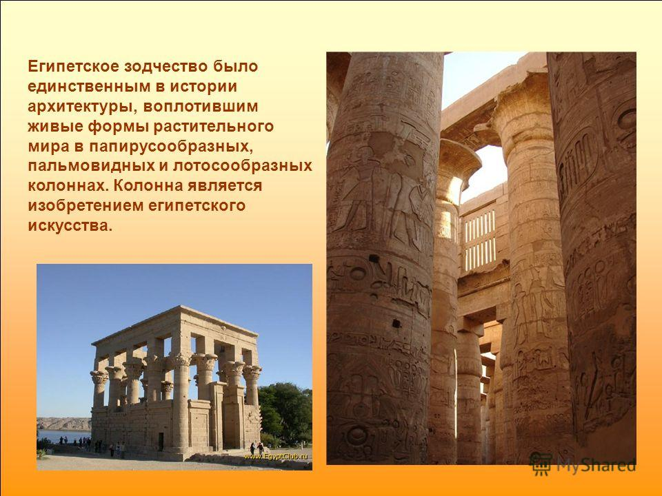 Египетское зодчество было единственным в истории архитектуры, воплотившим живые формы растительного мира в папирусообразных, пальмовидных и лотосообразных колоннах. Колонна является изобретением египетского искусства.