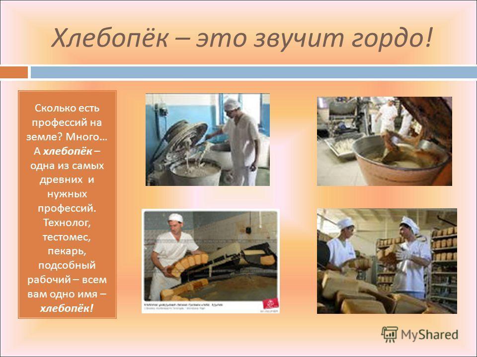 Хлебопёк – это звучит гордо ! Сколько есть профессий на земле ? Много … А хлебопёк – одна из самых древних и нужных профессий. Технолог, тестомес, пекарь, подсобный рабочий – всем вам одно имя – хлебопёк !