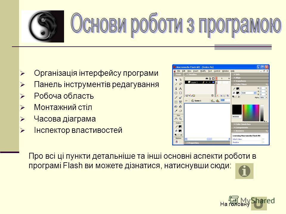 Організація інтерфейсу програми Панель інструментів редагування Робоча область Монтажний стіл Часова діаграма Інспектор властивостей Про всі ці пункти детальніше та інші основні аспекти роботи в програмі Flash ви можете дізнатися, натиснувши сюди: На