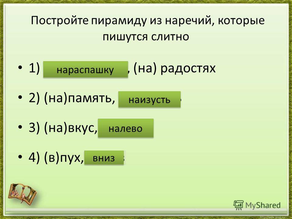 Постройте пирамиду из наречий, которые пишутся слитно 1) (на)распашку, (на) радостях 2) (на)память, (на)изусть 3) (на)вкус, (на)лево 4) (в)пух, (в)низ наизусть налево вниз нараспашку
