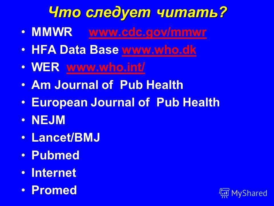 Что следует читать? MMWR www.cdc.gov/mmwrwww.cdc.gov/mmwr HFA Data Base www.who.dkwww.who.dk WER www.who.int/www.who.int/ Am Journal of Pub Health European Journal of Pub Health NEJM Lancet/BMJ Pubmed Internet Promed