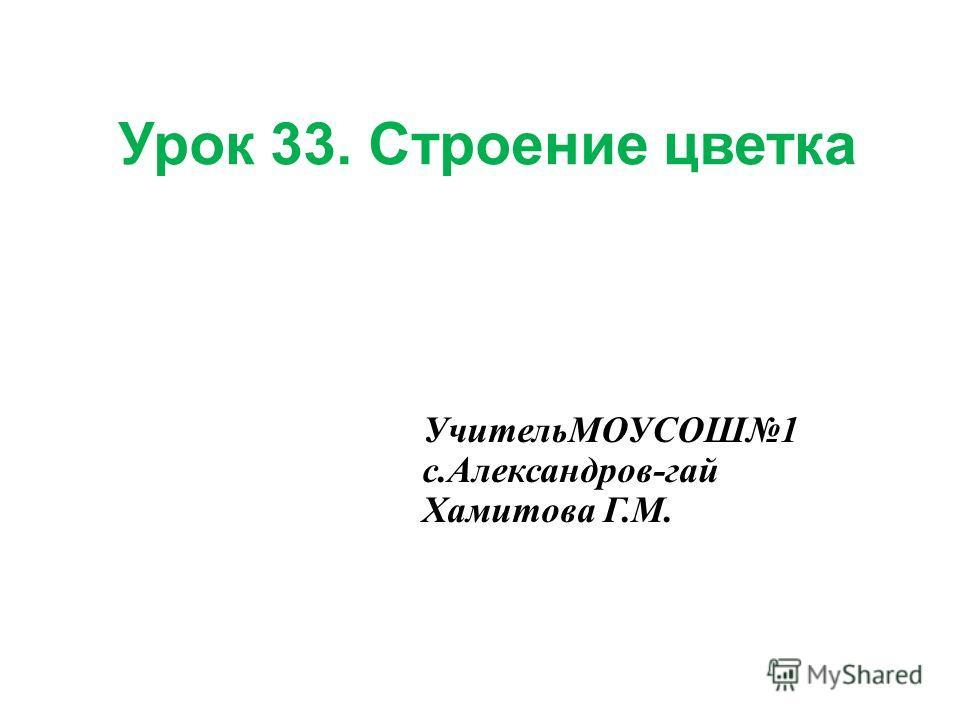 Урок 33. Строение цветка УчительМОУСОШ1 с.Александров-гай Хамитова Г.М.