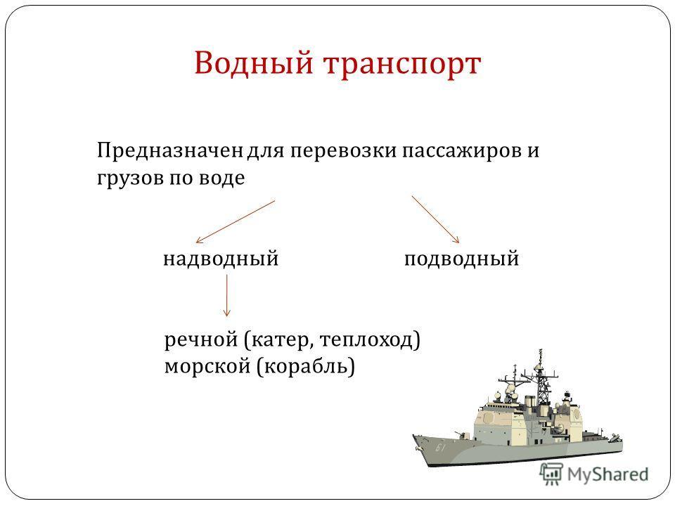 Водный транспорт Предназначен для перевозки пассажиров и грузов по воде надводный подводный речной (катер, теплоход) морской (корабль)