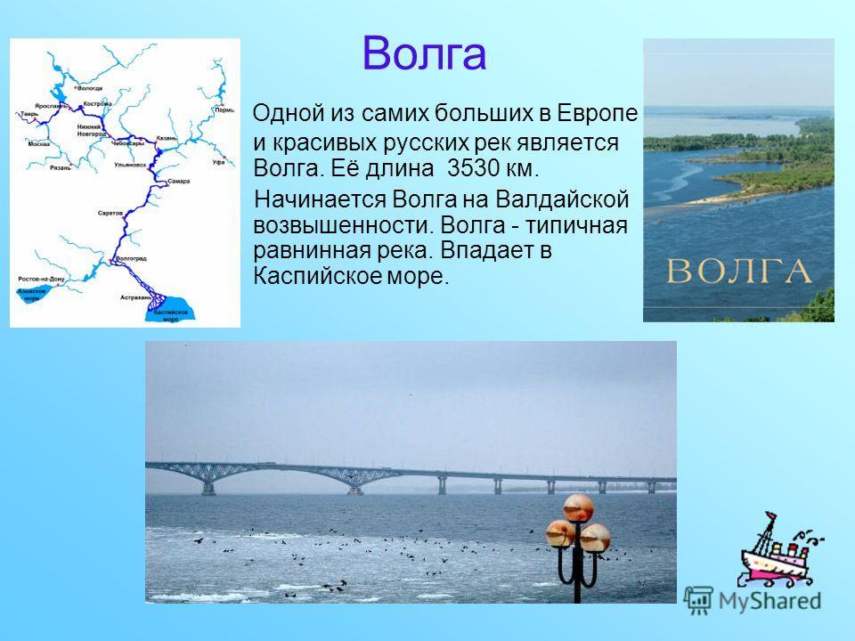 Волга Одной из самих больших в Европе и красивых русских рек является Волга. Её длина 3530 км. Начинается Волга на Валдайской возвышенности. Волга - типичная равнинная река. Впадает в Каспийское море.