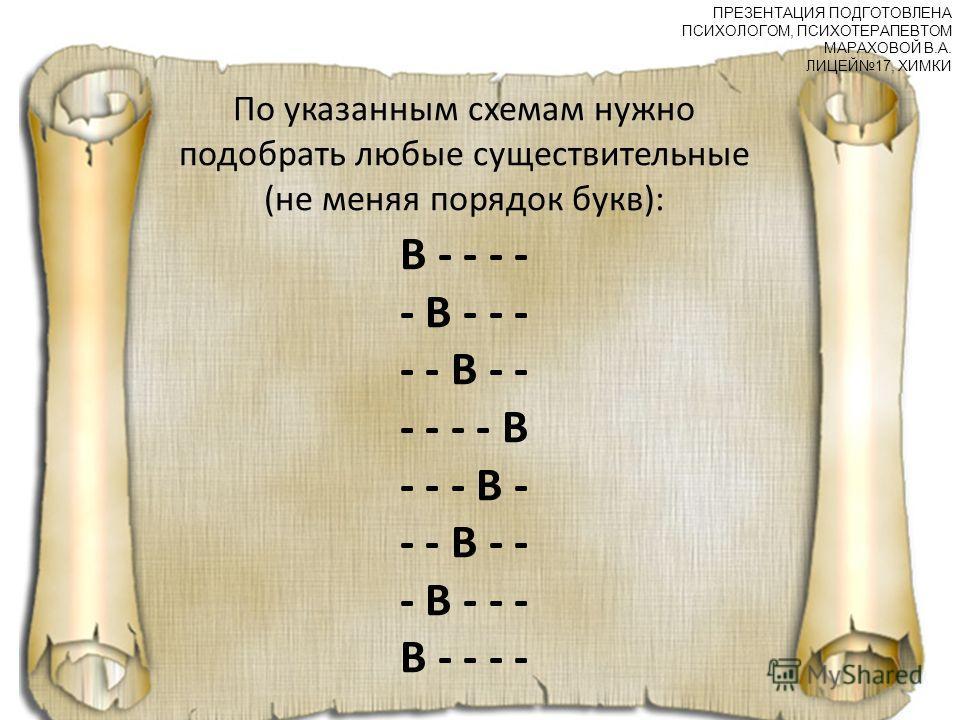 По указанным схемам нужно подобрать любые существительные (не меняя порядок букв): В - - - - - В - - - - - В - - - - - - В - - - В - - - В - - - В - - - В - - - - ПРЕЗЕНТАЦИЯ ПОДГОТОВЛЕНА ПСИХОЛОГОМ, ПСИХОТЕРАПЕВТОМ МАРАХОВОЙ В.А. ЛИЦЕЙ17, ХИМКИ