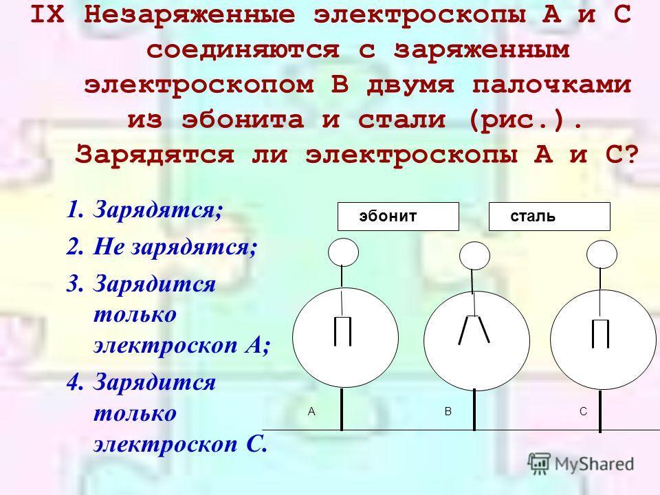 IXНезаряженные электроскопы А и С соединяются с заряженным электроскопом В двумя палочками из эбонита и стали (рис.). Зарядятся ли электроскопы А и С? 1.Зарядятся; 2.Не зарядятся; 3.Зарядится только электроскоп А; 4.Зарядится только электроскоп С. эб