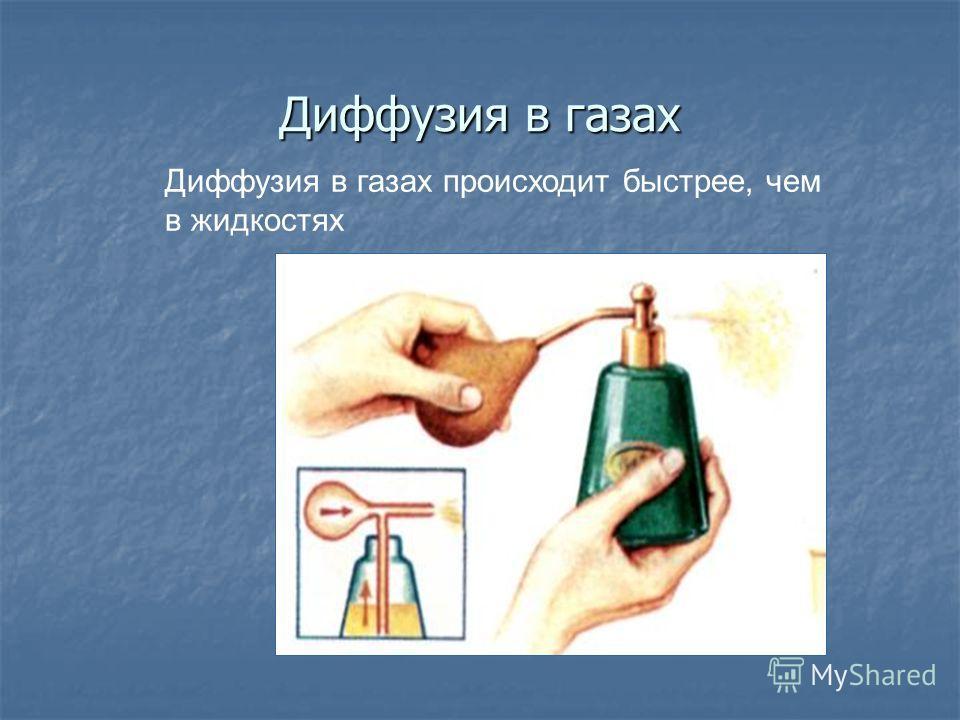 Диффузия в газах Диффузия в газах происходит быстрее, чем в жидкостях