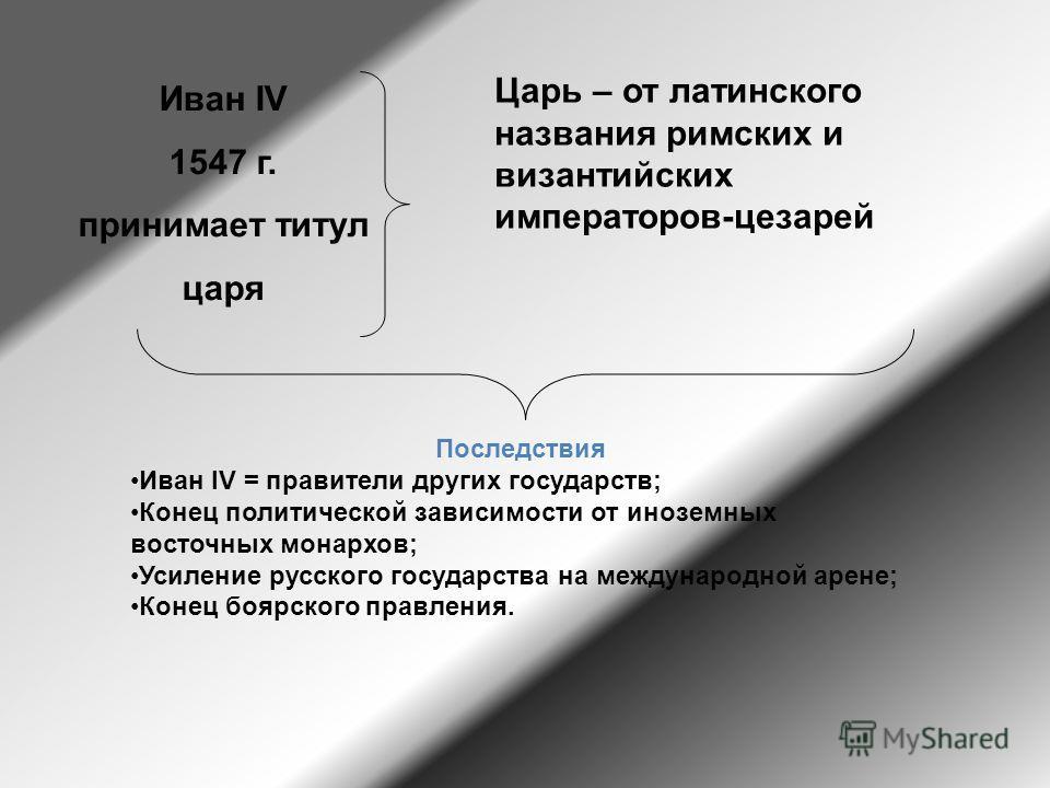 Иван IV 1547 г. принимает титул царя Царь – от латинского названия римских и византийских императоров-цезарей Последствия Иван IV = правители других государств; Конец политической зависимости от иноземных восточных монархов; Усиление русского государ