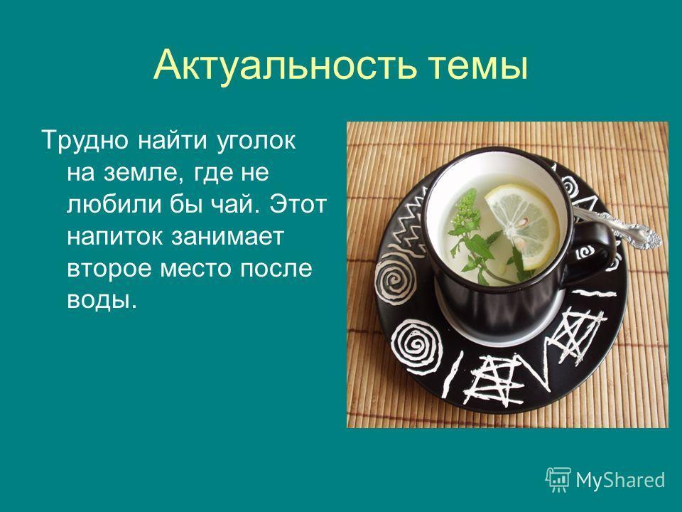 Актуальность темы Трудно найти уголок на земле, где не любили бы чай. Этот напиток занимает второе место после воды.