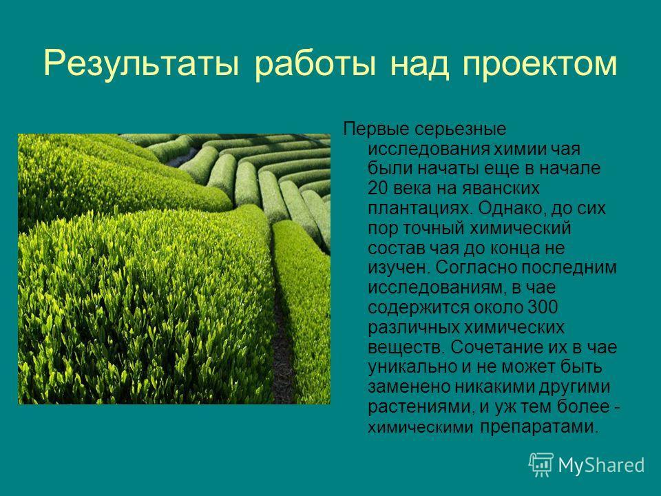 Результаты работы над проектом Первые серьезные исследования химии чая были начаты еще в начале 20 века на яванских плантациях. Однако, до сих пор точный химический состав чая до конца не изучен. Согласно последним исследованиям, в чае содержится око