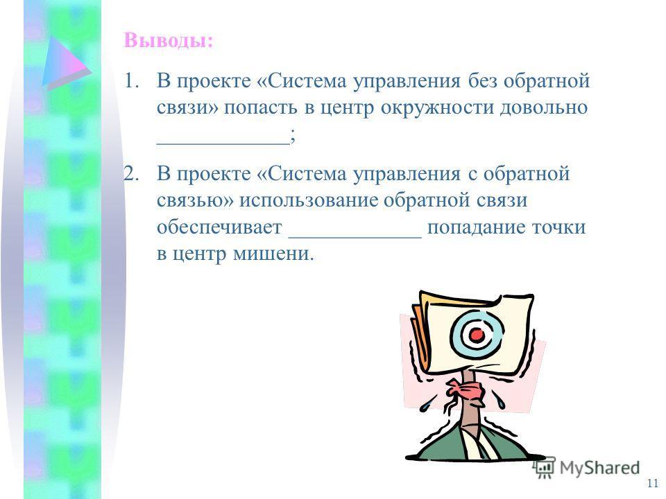 11 Выводы: 1.В проекте «Система управления без обратной связи» попасть в центр окружности довольно ____________; 2.В проекте «Система управления с обратной связью» использование обратной связи обеспечивает ____________ попадание точки в центр мишени.