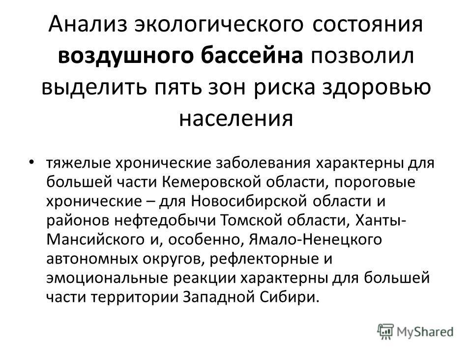 Анализ экологического состояния воздушного бассейна позволил выделить пять зон риска здоровью населения тяжелые хронические заболевания характерны для большей части Кемеровской области, пороговые хронические – для Новосибирской области и районов нефт