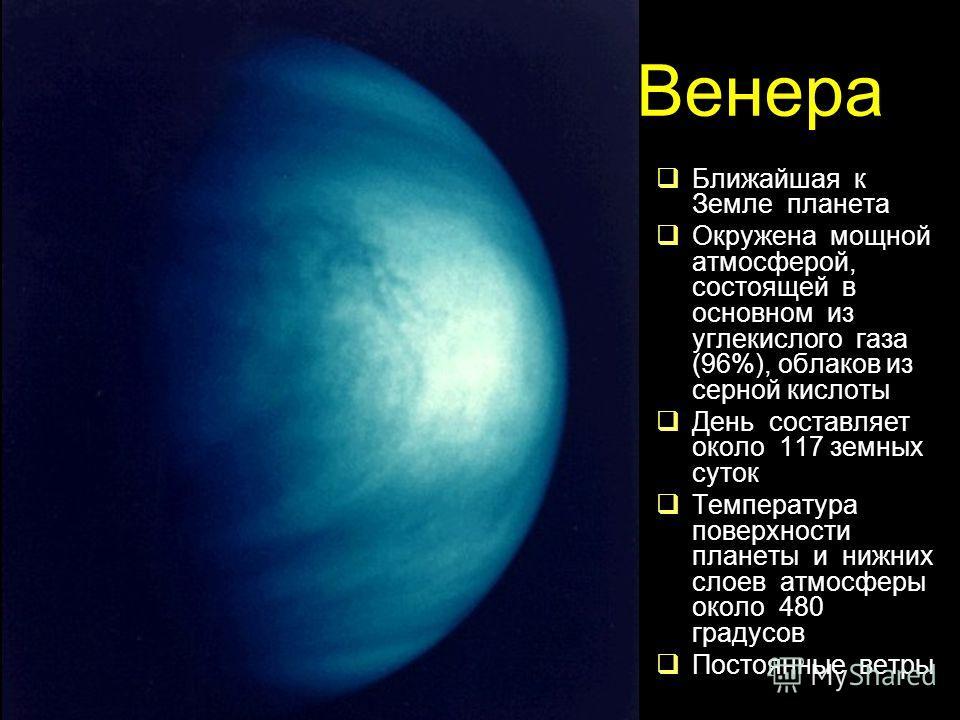 Венера Ближайшая к Земле планета Окружена мощной атмосферой, состоящей в основном из углекислого газа (96%), облаков из серной кислоты День составляет около 117 земных суток Температура поверхности планеты и нижних слоев атмосферы около 480 градусов
