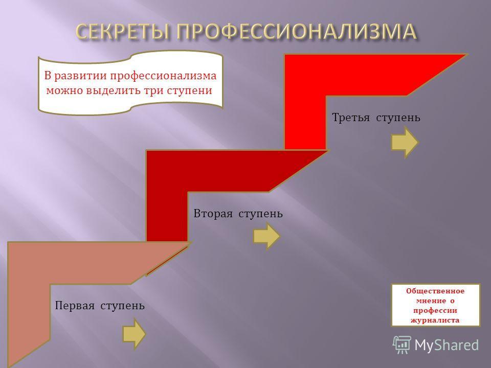 Третья ступень Вторая ступень Первая ступень В развитии профессионализма можно выделить три ступени: Общественное мнение о профессии журналиста