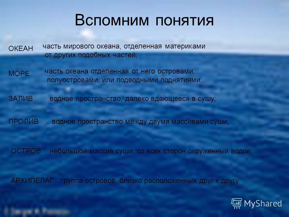 Вспомним понятия ОКЕАН МОРЕ ЗАЛИВ ПРОЛИВ ОСТРОВ АРХИПЕЛАГ часть мирового океана, отделенная материками от других подобных частей; часть океана отделенная от него островами, полуостровами, или подводными поднятиями; водное пространство, далеко вдающее