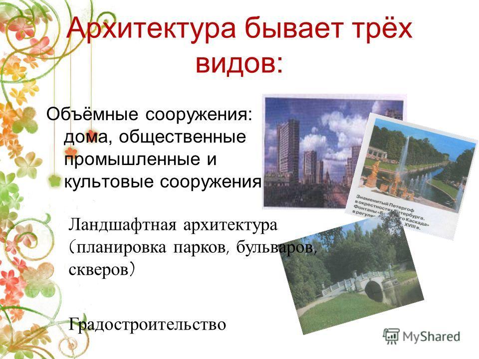 Архитектура или зодчество – это искусство проектировать и строить здания, сооружения, площади и проспекты, парки и стадионы. Какой должна быть архитектура? ПРОЧНОЙ, УДОБНОЙ И ПОЛЕЗНОЙ КРАСИВОЙ