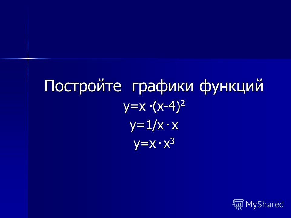 Постройте графики функций y=x. (x-4) 2 y=1/x. x y=x. x 3