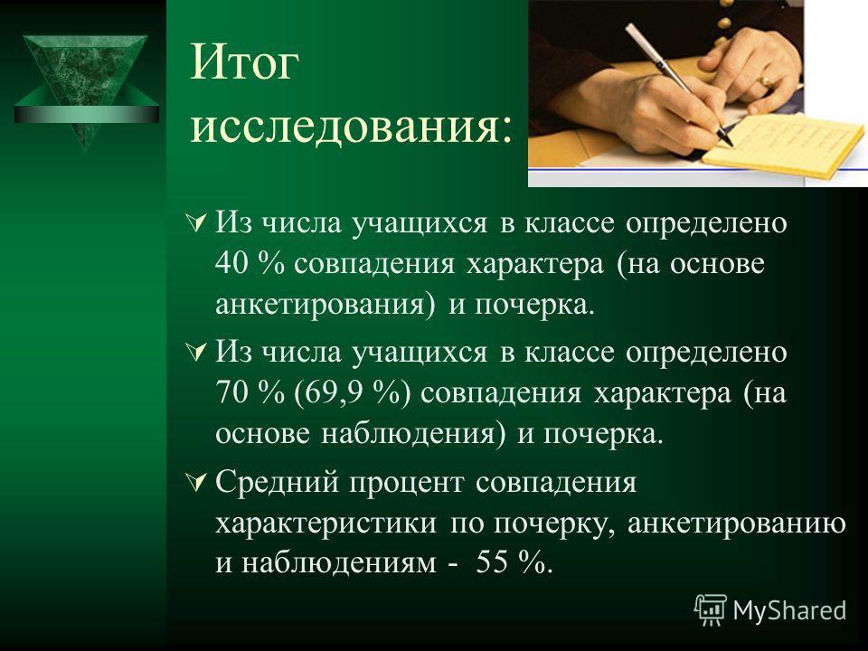 Итог исследования: Из числа учащихся в классе определено 40 % совпадения характера (на основе анкетирования) и почерка. Из числа учащихся в классе определено 70 % (69,9 %) совпадения характера (на основе наблюдения) и почерка. Средний процент совпаде
