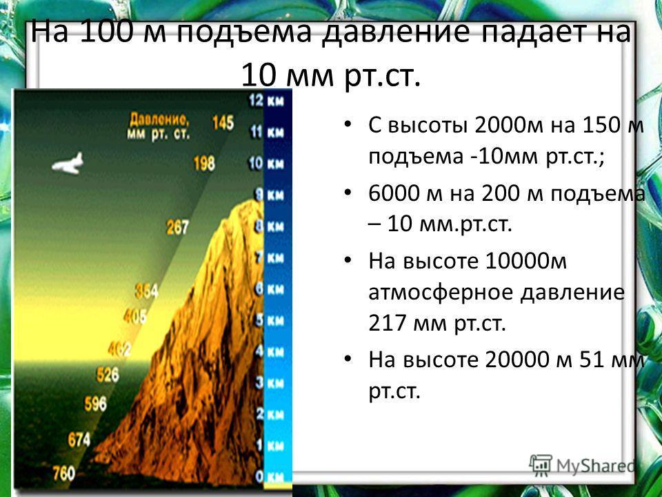 На 100 м подъема давление падает на 10 мм рт.ст. С высоты 2000м на 150 м подъема -10мм рт.ст.; 6000 м на 200 м подъема – 10 мм.рт.ст. На высоте 10000м атмосферное давление 217 мм рт.ст. На высоте 20000 м 51 мм рт.ст.