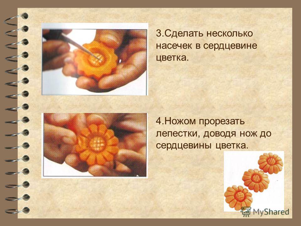 3.Сделать несколько насечек в сердцевине цветка. 4.Ножом прорезать лепестки, доводя нож до сердцевины цветка.