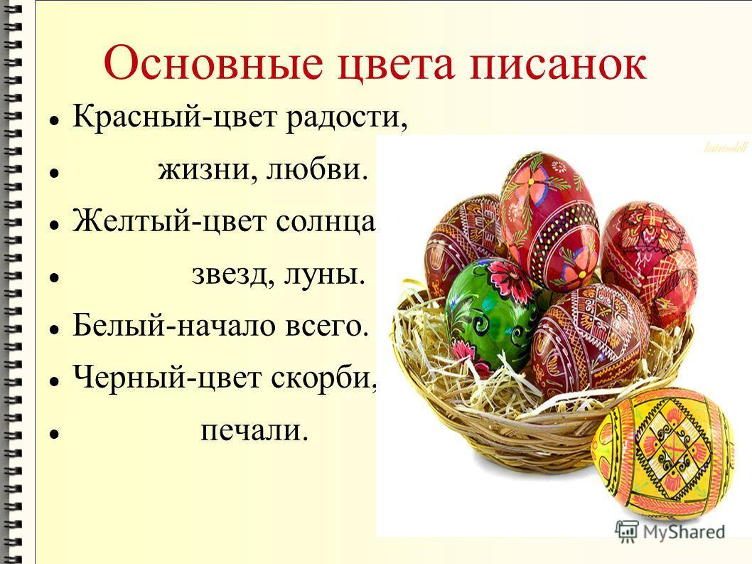 Основные цвета писанок Красный-цвет радости, жизни, любви. Желтый-цвет солнца, звезд, луны. Белый-начало всего. Черный-цвет скорби, печали.