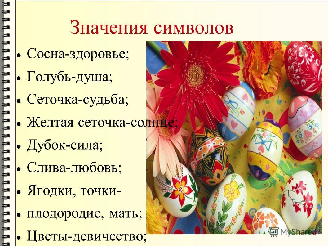 Значения символов Сосна-здоровье; Голубь-душа; Сеточка-судьба; Желтая сеточка-солнце; Дубок-сила; Слива-любовь; Ягодки, точки- плодородие, мать; Цветы-девичество;