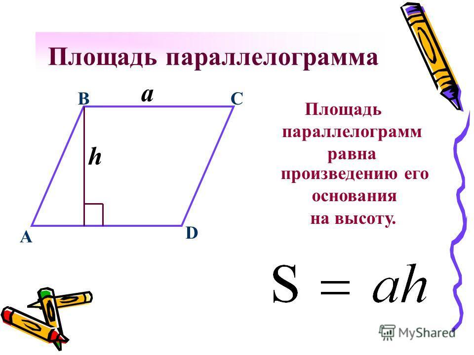 Площадь параллелограмма Площадь параллелограмм равна C a B D h A произведению его основания на высоту.
