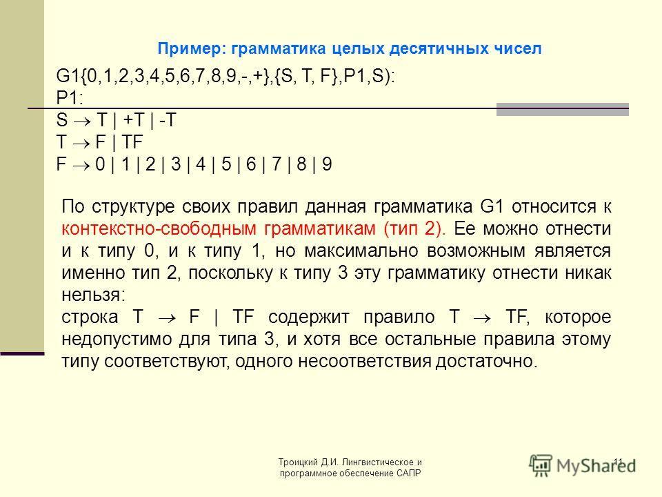 Троицкий Д.И. Лингвистическое и программное обеспечение САПР 11 Пример: грамматика целых десятичных чисел G1{0,1,2,3,4,5,6,7,8,9,-,+},{S, Т, F},P1,S): P1: S Т | +Т | -Т Т F | TF F 0 | 1 | 2 | 3 | 4 | 5 | 6 | 7 | 8 | 9 По структуре своих правил данная