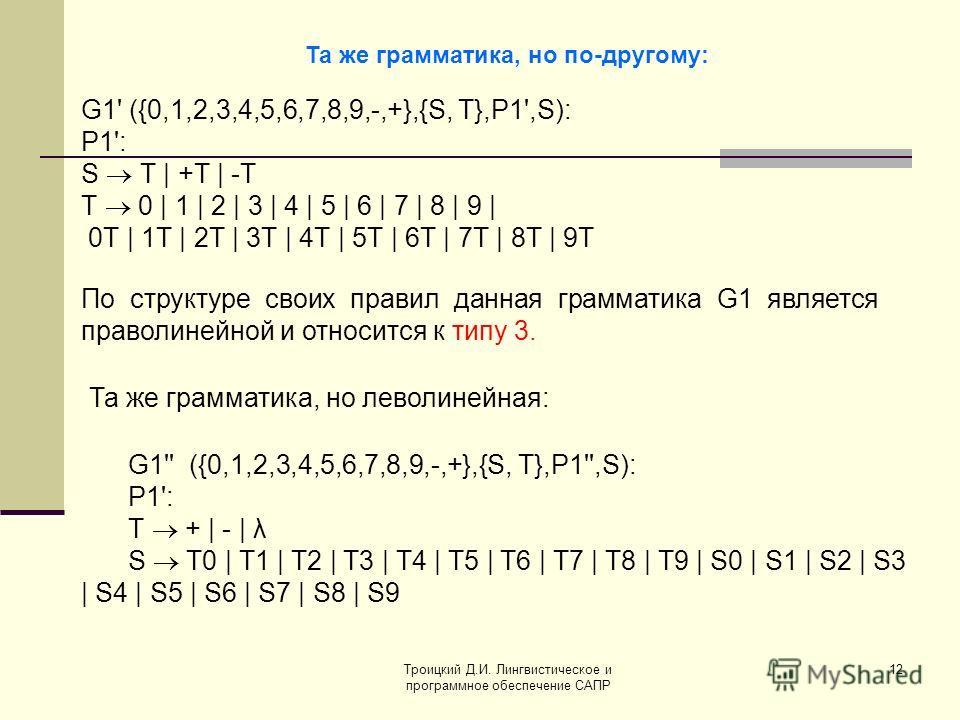 Троицкий Д.И. Лингвистическое и программное обеспечение САПР 12 Та же грамматика, но по-другому: G1' ({0,1,2,3,4,5,6,7,8,9,-,+},{S, Т},P1',S): P1': S Т | +Т | -Т Т 0 | 1 | 2 | 3 | 4 | 5 | 6 | 7 | 8 | 9 | 0Т | 1T | 2Т | 3Т | 4Т | 5Т | 6Т | 7Т | 8Т | 9