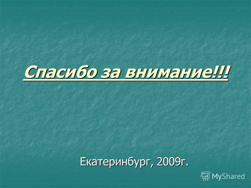 Спасибо за внимание!!! Екатеринбург, 2009г.