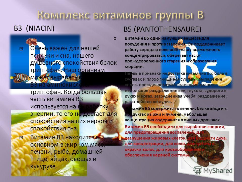 В3 (NIACIN) В5 (PANTOTHENSAURE) Очень важен для нашей психики и сна, нашего душевного спокойствия белок триптофан. Наш организм может вырабатывать витамин В3 из аминокислоты триптофан. Когда большая часть витамина В3 используется на выработку энергии