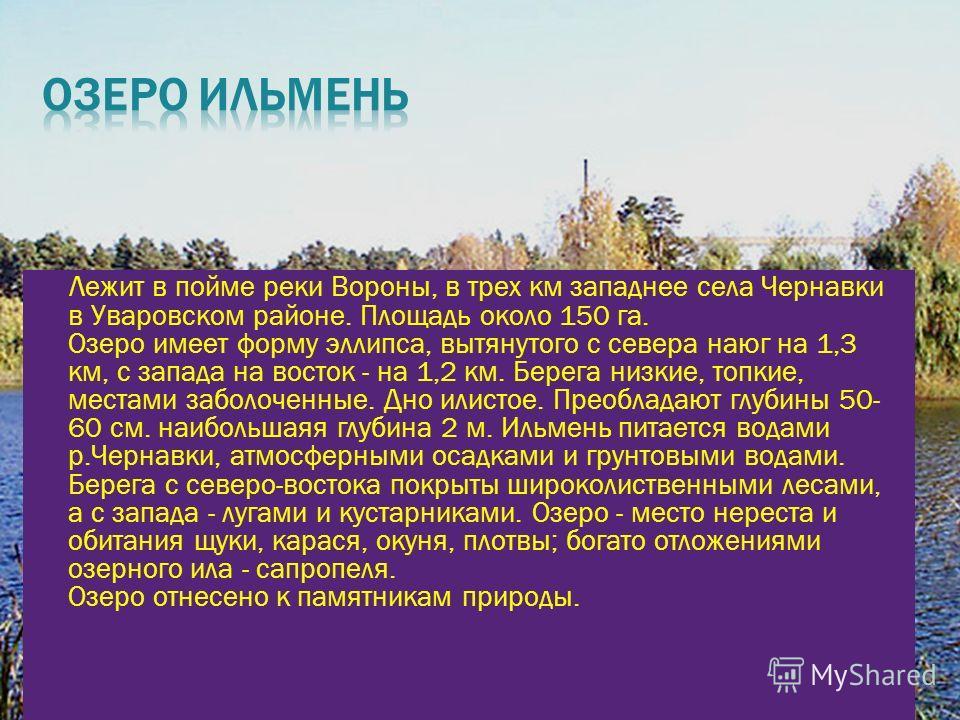 Лежит в пойме реки Вороны, в трех км западнее села Чернавки в Уваровском районе. Площадь около 150 га. Озеро имеет форму эллипса, вытянутого с севера наюг на 1,3 км, с запада на восток - на 1,2 км. Берега низкие, топкие, местами заболоченные. Дно или