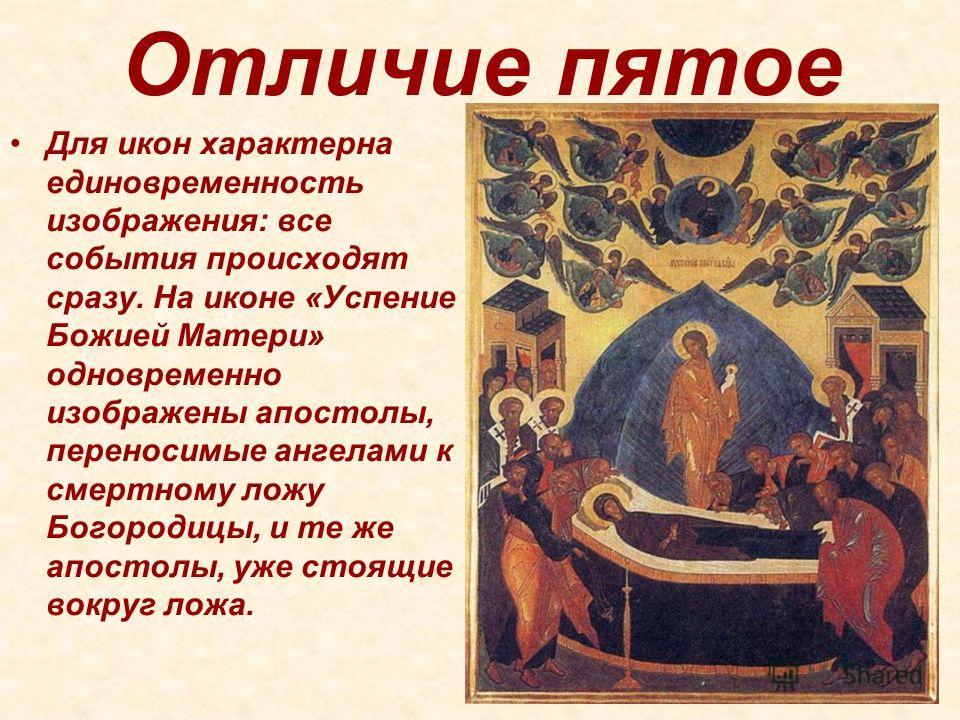 Отличие пятое Для икон характерна единовременность изображения: все события происходят сразу. На иконе «Успение Божией Матери» одновременно изображены апостолы, переносимые ангелами к смертному ложу Богородицы, и те же апостолы, уже стоящие вокруг ло