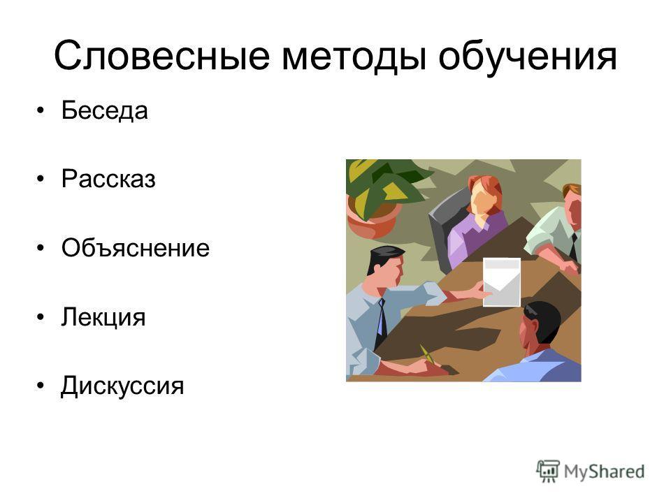 Словесные методы обучения Беседа Рассказ Объяснение Лекция Дискуссия