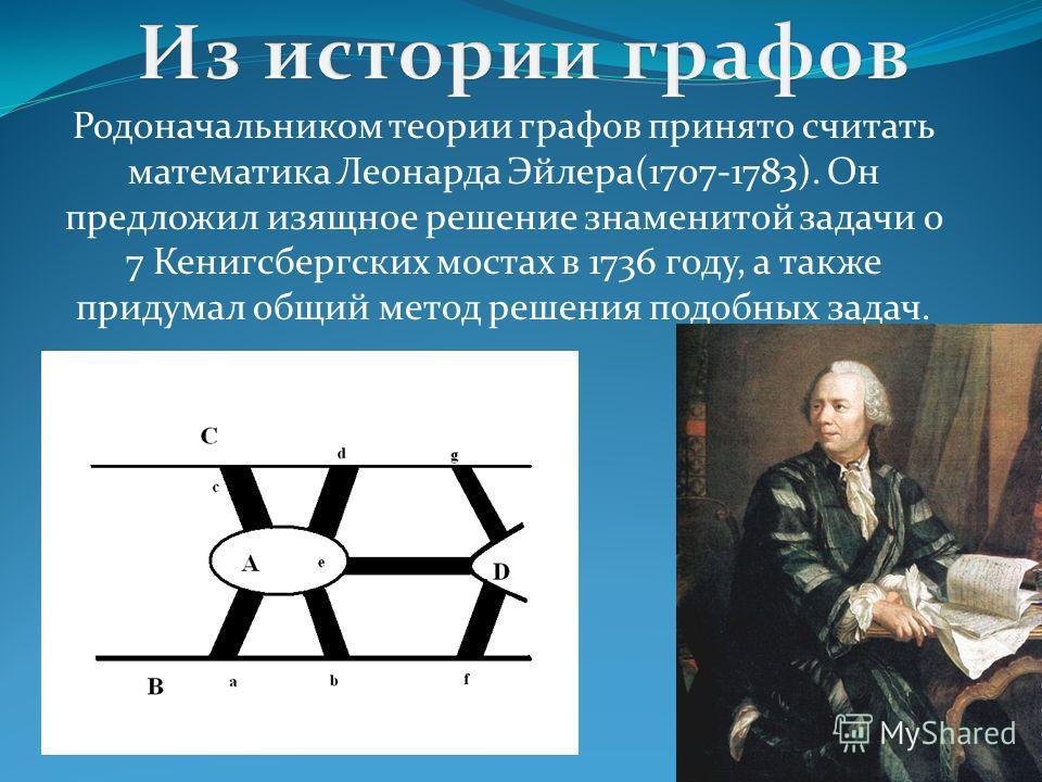 Родоначальником теории графов принято считать математика Леонарда Эйлера(1707-1783). Он предложил изящное решение знаменитой задачи о 7 Кенигсбергских мостах в 1736 году, а также придумал общий метод решения подобных задач.
