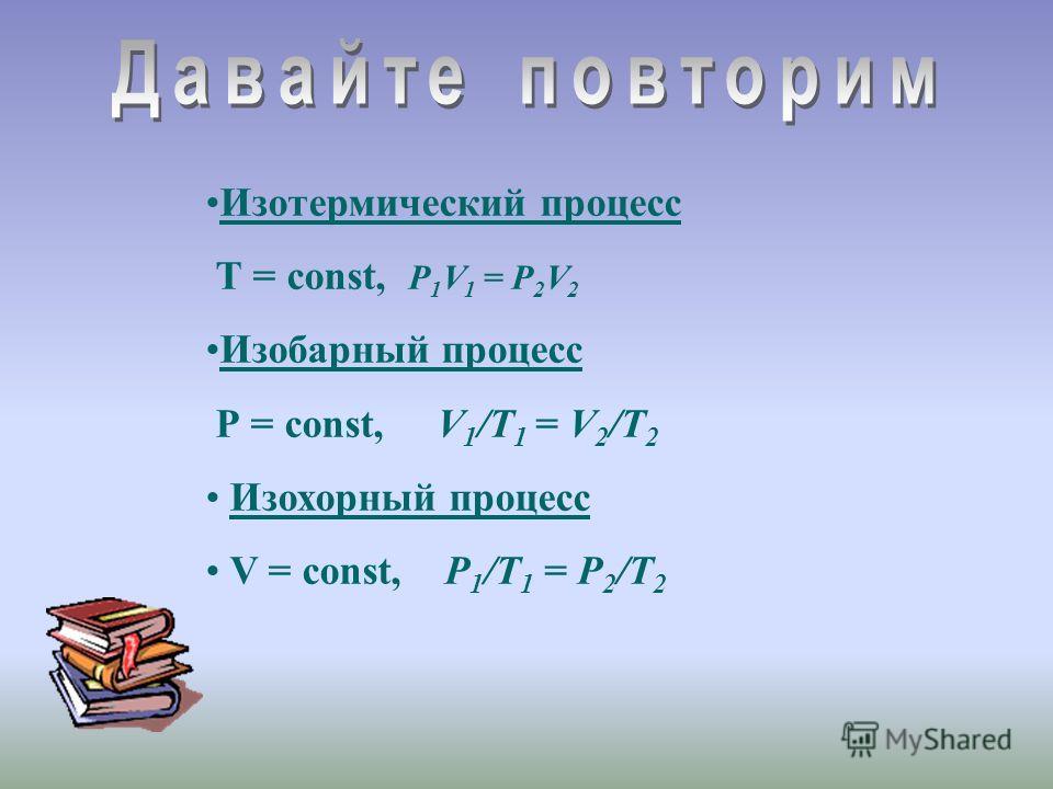 Изотермический процесс Т = const, P 1 V 1 = P 2 V 2 Изобарный процесс Р = const, V 1 /Т 1 = V 2 /T 2 Изохорный процесс V = const, P 1 /Т 1 = P 2 /T 2