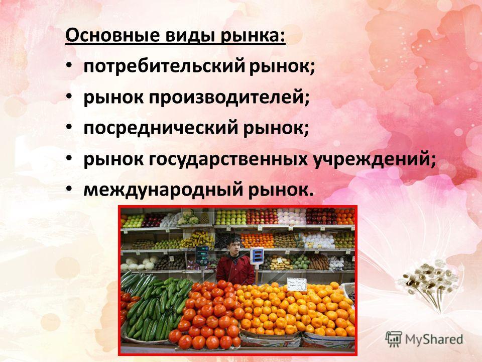 Основные виды рынка: потребительский рынок; рынок производителей; посреднический рынок; рынок государственных учреждений; международный рынок.