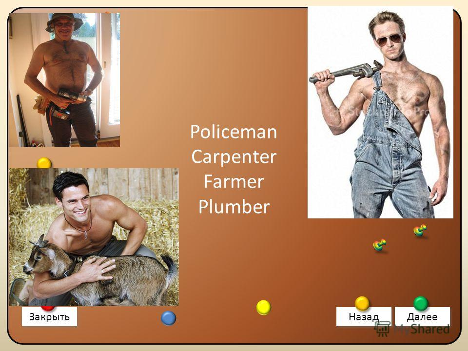Policeman Carpenter Farmer Plumber Закрыть Назад Далее