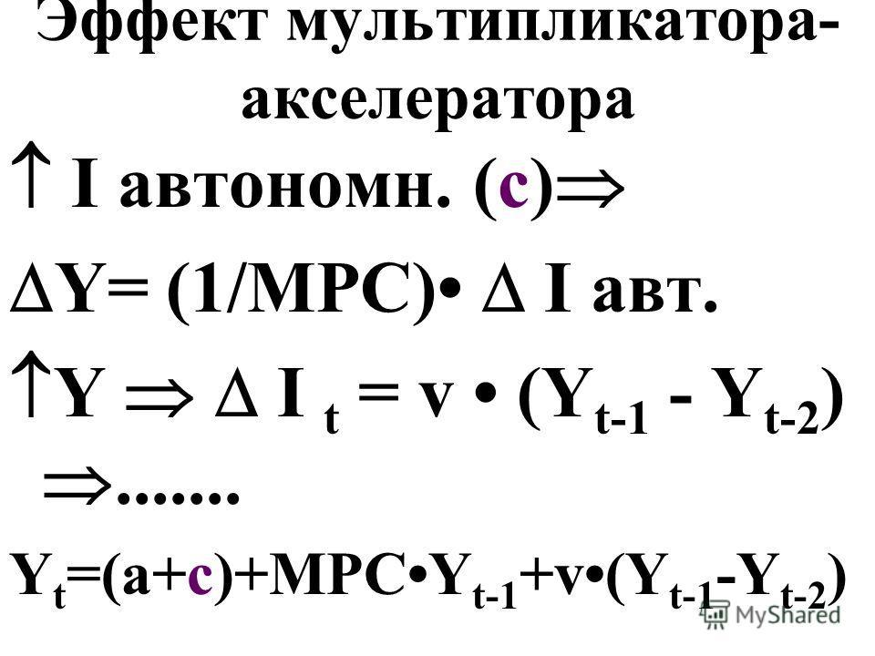 Эффект мультипликатора- акселератора I автономн. (c) Y= (1/MPC) I авт. Y I t = v (Y t-1 - Y t-2 )....... Y t =(a+c)+MPCY t-1 +v(Y t-1 -Y t-2 )