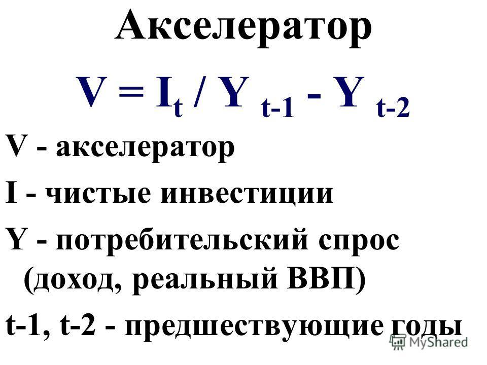 Акселератор V = I t / Y t-1 - Y t-2 V - акселератор I - чистые инвестиции Y - потребительский спрос (доход, реальный ВВП) t-1, t-2 - предшествующие годы