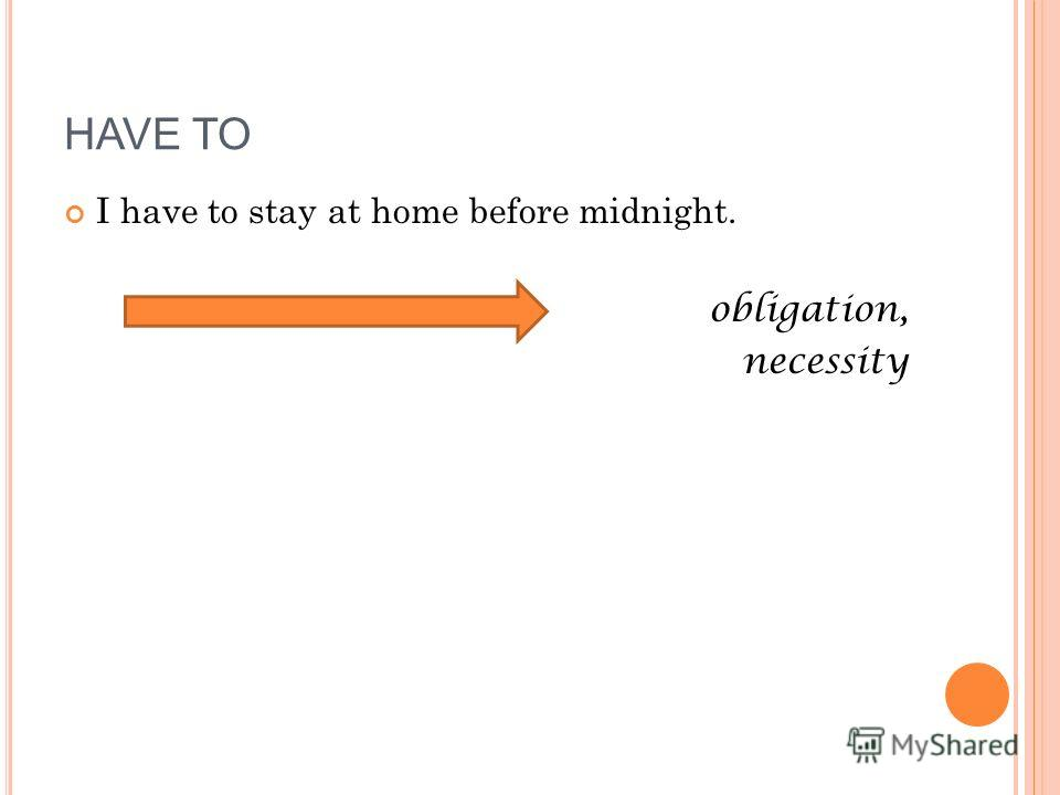 I have to stay at home before midnight. obligation, necessity HAVE TO