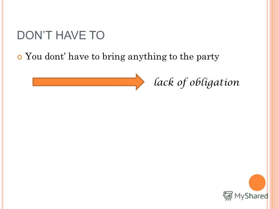 You dont have to bring anything to the party lack of obligation DONT HAVE TO