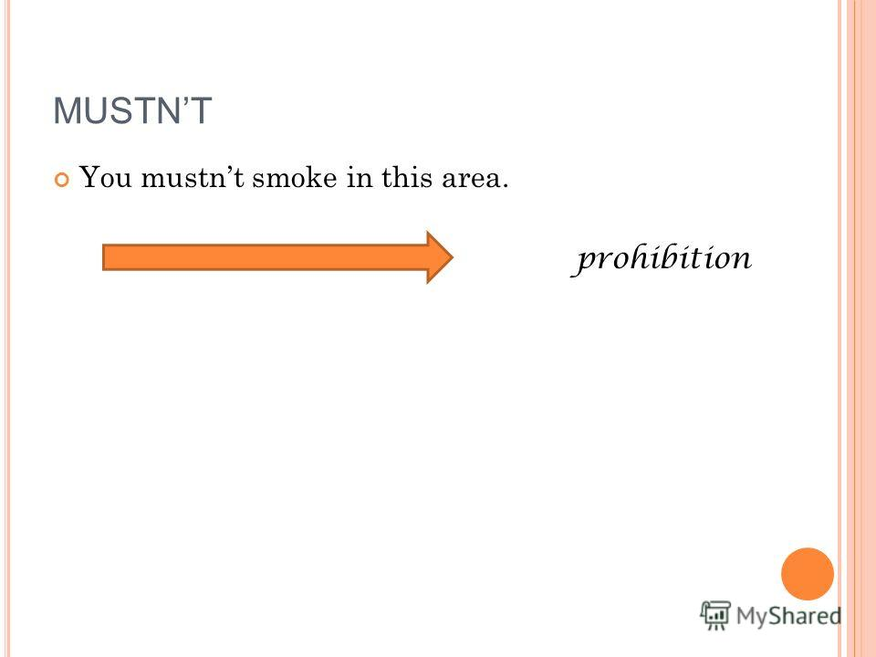 You mustnt smoke in this area. prohibition MUSTNT