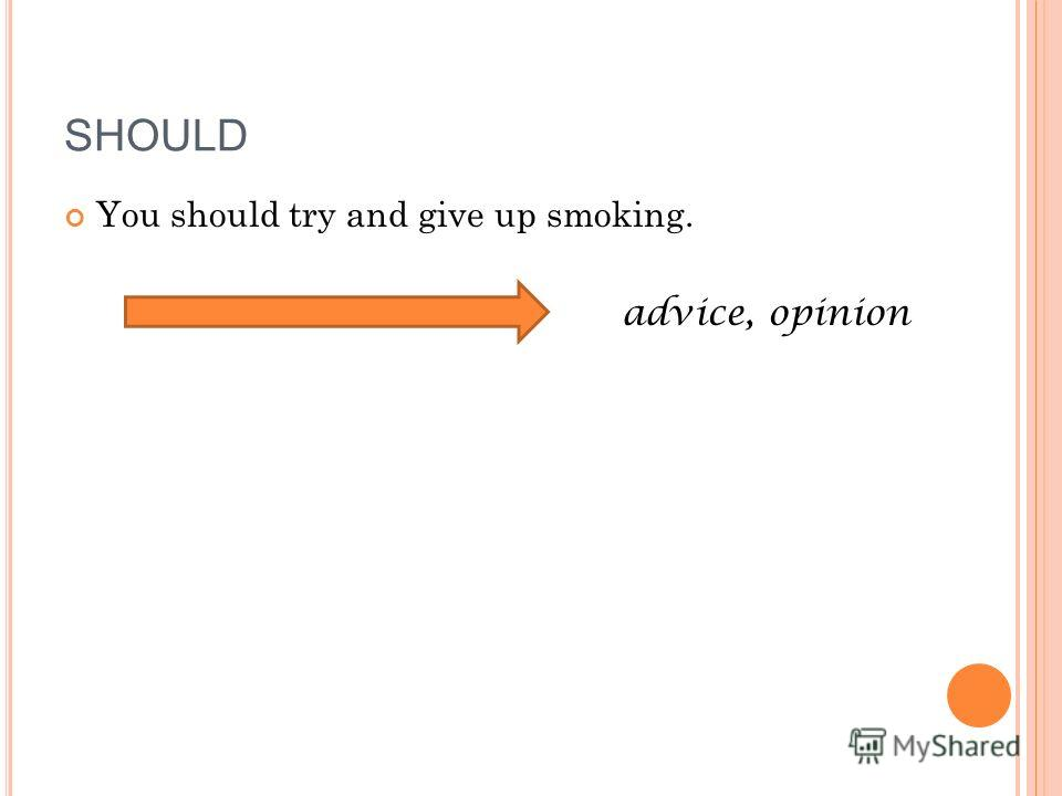 You should try and give up smoking. advice, opinion SHOULD