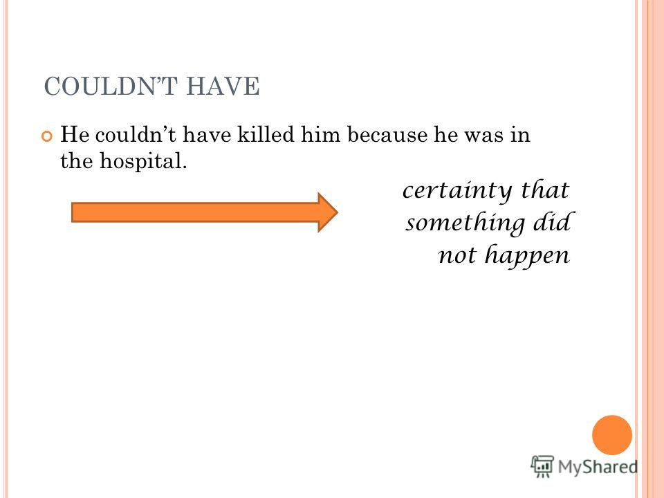 COULDNT HAVE He couldnt have killed him because he was in the hospital. certainty that something did not happen
