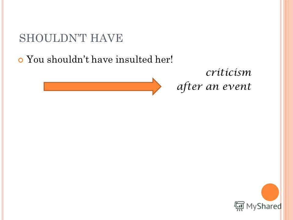 SHOULDNT HAVE You shouldnt have insulted her! criticism after an event