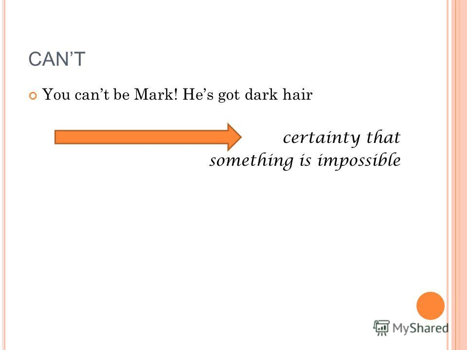 You cant be Mark! Hes got dark hair certainty that something is impossible CANT
