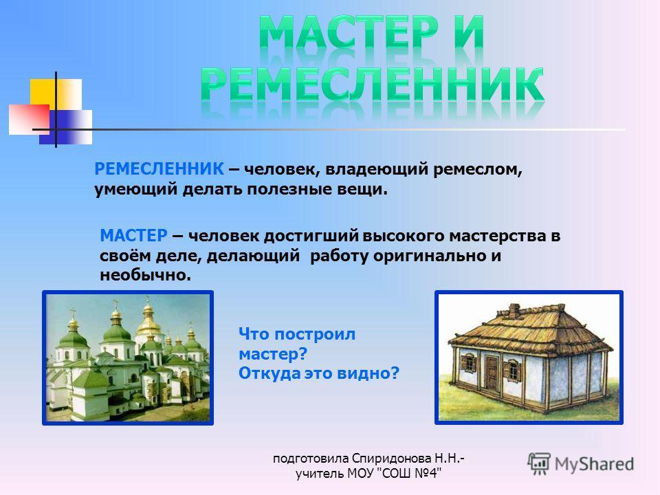 подготовила Спиридонова Н.Н.- учитель МОУ
