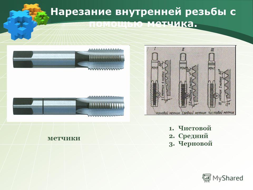 Нарезание внутренней резьбы с помощью метчика. 1.Чистовой 2.Средний 3.Черновой метчики
