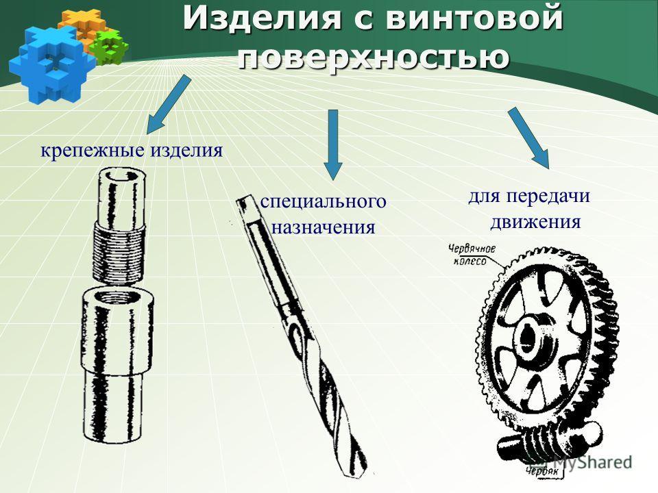 Изделия с винтовой поверхностью крепежные изделия для передачи движения специального н азначения
